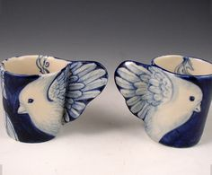 Porcelain bird cup pair in blue and white. PS Porcelain. Etsy
