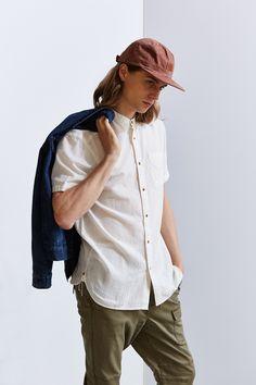 Koto Short-Sleeve Mandarin Collar Button-Down Shirt