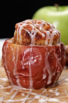 Cinnamon Roll-Stuffed Baked Apples - try this in tin foil and a campfire? Just Desserts, Delicious Desserts, Dessert Recipes, Yummy Food, Apple Recipes, Fall Recipes, Holiday Recipes, Fruit Recipes, Sorbet