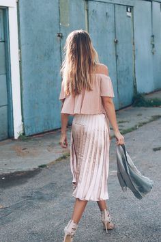Rose gold, pleated midi skirt and pleated crop top