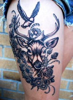 Black Ink Deer With Flowers Tattoo Design For Upper Leg