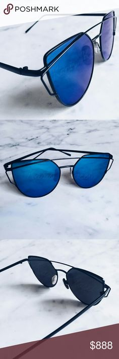 "Accessories| Blue & black cat eye sunglasses These cat eye summer sunnies are a must have this season! I absolutely loved them, so I got them in almost every color for myself lol and I even grabbed a few extra for you! This listing is for the blue  lenses with black frames seen in photos 1-3. Ask for a listing of red and black color option shown in my final photo (shown for scale on a face only). Measurements are approx 5.7"" from metal corner to corner with each flat lens approx 2.3"". Please…"