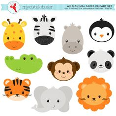 Wild animal faces clipart set - giraffe, crocodile, panda, l Safari Party, Jungle Party, Safari Theme, Jungle Theme, Jungle Animals, Farm Animals, Cute Animals, Wild Animals, Tribal Animals