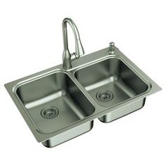 Kelsa 33-in x 22-in Stainless Steel 2 Stainless Steel Drop-in or Undermount 2-Hole Residential Kitchen Sink