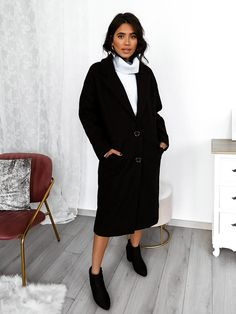 Παλτό Μακρύ Με Τσέπες Μαύρο - Gypsy Soul Gypsy, High Neck Dress, Coats, Dresses, Fashion, Turtleneck Dress, Vestidos, Moda, Wraps