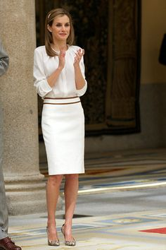 "Doña Letizia also wore her BOSS 'Banora' blouse on 21 July 2014 when King Felipe and Queen Letizia received members of the ""Ruta Quetzal BBVA 2014"" expedition at El Pardo Palace in Madrid."