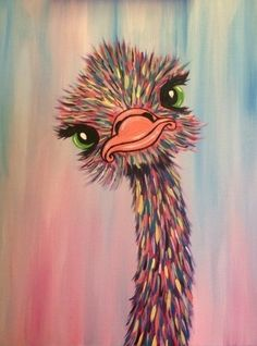 Baby Ostrich painting, so cute!