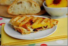 Bacon, cheese, & peach paninis yummm