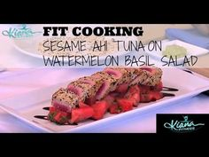 Refreshing Summer Dish loaded with protein & fresh fruit! Kiana's Fit Cooking Show: Sesame Crusted Ahi Tuna and Watermelon Basil Salad | Fit Mom TV