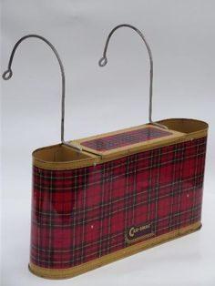 vintage tartanware plaid thermos carrier, 1950s car travel picnic tin