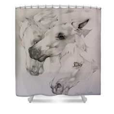 """Trojka Shower Curtain by Janina Pazdan.  This shower curtain is made from 100% polyester fabric and includes 12 holes at the top of the curtain for simple hanging.  The total dimensions of the shower curtain are 71"""" wide x 74"""" tall."""