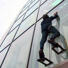 Forget Spider-man, and meet Geckoman. Researchers at Stanford University have created a gecko-inspired human climbing system that allowed a grad student to scale a glass wall using two hand-sized sticky pads. They can help humans climb and may provide a better grip for robotic arms in factories and in space.