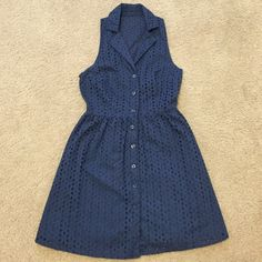 Blue eyelet dress Only worn a few times. Perfect for summer. J. Crew for visibility. Can fit xs-small J. Crew Dresses Mini