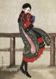 "taishou-kun: "" Fukiya Koji 蕗谷虹児 Kito o furu yuki 帰途を降る雪 (Snow falling on the way home) - Shoujogahou 少女画報 (Girl Pictorial) frontispiece - 1924 "" Yuki, Fine Art Portraits, Character Design, Illustration Artwork, Japanese Prints, Japanese Woodcut, Illustration Art, Art, Pop Art"