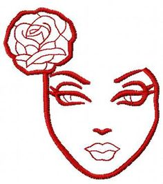 Lady and rose free embroidery design. Machine embroidery design. www.embroideres.com