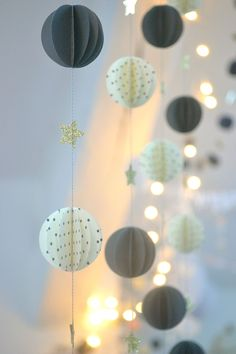 "Paper garland made for the windows ""My tiny moon"""