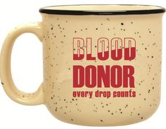 "Campfire 'Every Drop Count' Mug is Perfect Donor Gift for Heart of Winter! It promises to help donors cope with this frigid winter... especially this week! The ""Blood Donor - Every Drop Counts"" speckled campfire mug is free to everyone who registers to donate Monday, Jan. 27 through Saturday, Feb. 22 at any CBC Donor Center and most mobile blood drives."