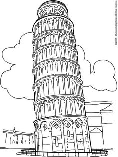 Leaning Tower Of Pisa on Audio Stories for Kids & Free Coloring Pages from Light Up Your Brain… Cool Coloring Pages, Printable Coloring Pages, Coloring Pages For Kids, Coloring Sheets, Coloring Books, Italy For Kids, Geography For Kids, Culture Art, City Icon