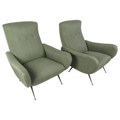 Pair of Midcentury Italian Lounge Chairs in the Style of Marco Zanuso | 1stdibs.com