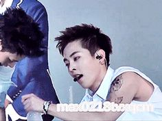 Xiumin's expression when the thirst is too real… he looks high as fuck xD