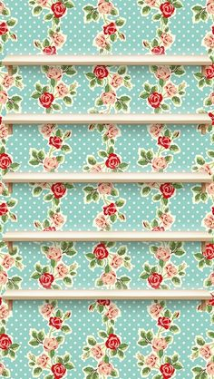 Polka-Dot Roses: Shelves keep apps neat and tidy on this playful floral pattern.