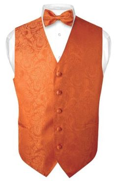 Amazon.com: Men's Paisley Design Dress Vest Bow Tie BURNT ORANGE BOWTie Set for Suit or Tuxedo: Clothing