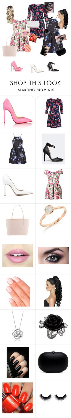 """""""Floral Fun"""" by albaoreo on Polyvore featuring Christian Louboutin, Superdry, Topshop, Wild Rose, Gianvito Rossi, Ted Baker, Monica Vinader, Fiebiger, Elegant Touch and BERRICLE"""