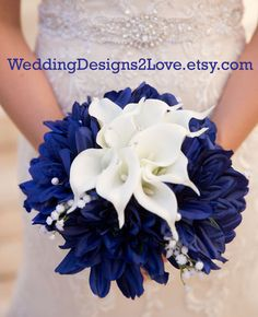 Blue White Bouquet White calla lilies Navy by WeddingDesigns2Love