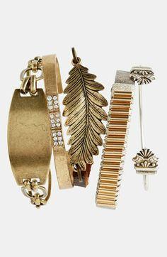 Bonnie Jonas Filigree Cuff Bracelet, Leaf & Leather Bracelet & ID Bracelet