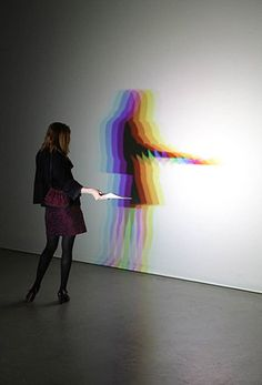 By Olafur Eliasson. It's real shadow. Each lamp is aligned differently. カラフルな影が気に入りました。
