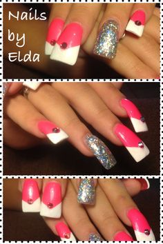 Pink with white v-tip