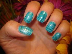 Turquoise & Silver Crisscross #Jamberry #nails #nailart #manicure #pedicure #workfromhome