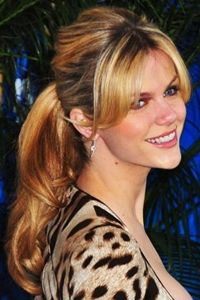 Just a few more inches to go...brooklyn decker wavy ponytail hairstyle with side bangs and bouffant