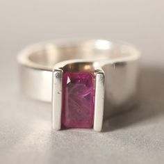 Handmade Natural Ruby Ring in Modernist Sterling Silver Setting Sz 6 Stamped 925 #Handmade #Solitaire