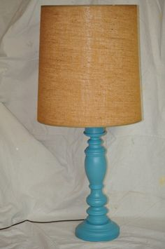 vintage turquoise lamp with tweed shade