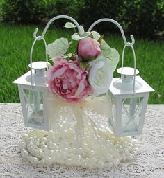 Wedding Centerpieces Mini Lanterns With Hanger With Flower Accents Lace And Faux Pearl Garland