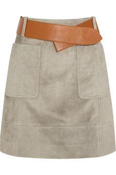 Derek Lam Belted suede skirt   NET-A-PORTER