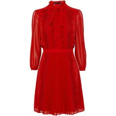 RED RUFFLED LACE DRESS ($295) ❤ liked on Polyvore featuring dresses, short dresses, short lace dress, red ruffle dress, red dress, lace mini dress and short red cocktail dress