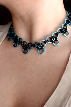 Sky Blue and Black Linked Chainmaille Choker Necklace - Chainmail - Chainmaille Jewelry. $33.00, via Etsy.