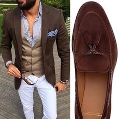 White pants combined with brown
