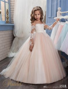 Kids Wedding Dresses 2017 Pentelei with Illusion Long Sleeves and Strapless Neckline Appliques Tulle Blush Flower Little Girls Gowns