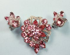 Eisenberg Pink and Clear Rhinestone Brooch and Earrings Set Demi Parure
