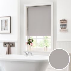 Finished with a moisture resistant lining ideal for kitchen and bathroom use, this plain textured roller blind comes in a luxurious silver colour. Blinds For Bathroom Windows, Kitchen Blinds, House Blinds, Living Room Blinds, Bathroom Curtains, Window In Shower, Blackout Blinds, Shades Blinds, Decorating Your Home