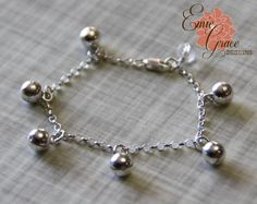 Bells Anklet Sterling Silver Baby Ankle by EmieGraceDesigns