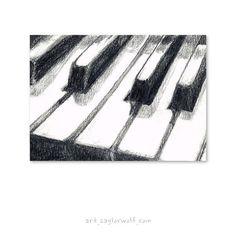 Klaviertastatur feine Kunstdruck von von SaylorWolfWatercolor