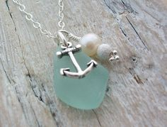 Sterling Silver Anchor and Scottish Sea Glass Necklace - SOFT ANCHOR (24) £22.50