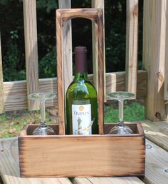 Rustic Wood Wine Caddy Wooden wine bottle and by dlightfuldesigns