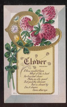 "Nash Flower Alphabet "" C "" CLOVER Floral Meaning Emb.Greeting Postcard-ccc427"