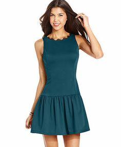 Jump Juniors Dress, Sleeveless Lace-Trim Drop-Waist