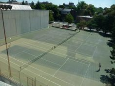 Ace! Tennis courts next to Cambridge Public Library.